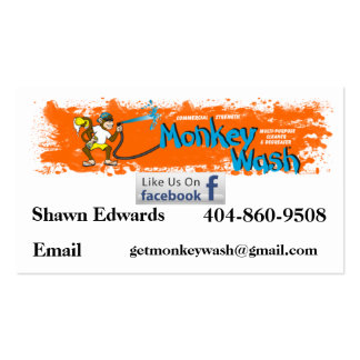 Monkey Wash card Shawn Business Card