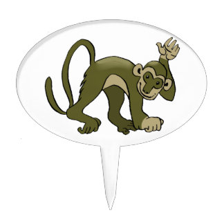 Monkey Waves At You Cake Toppers
