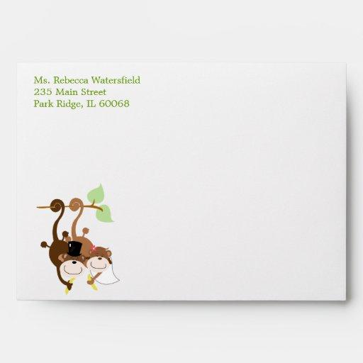 Monkey Wedding Couple 5x7 Invitation size Envelope