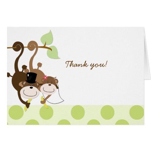 Monkey Wedding Couple Thank you Note Card