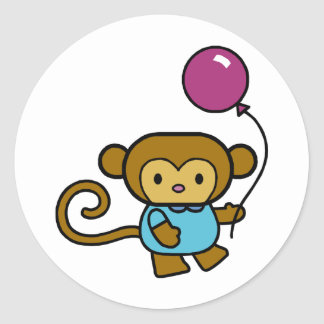 Monkey with Balloon Classic Round Sticker