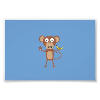 monkey with banana photo print