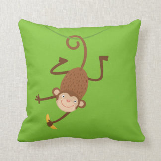 Monkey with Banana Throw Pillow