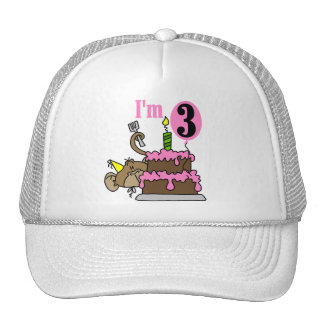 Monkey with Cake 3rd Birthday Tshirts and Gifts Trucker Hat
