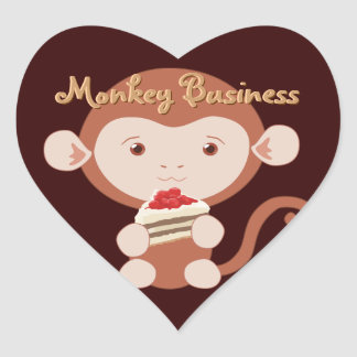 Monkey with Cake Slice Heart Stickers