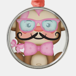 Monkey with glasses ,mustache metal ornament