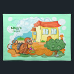 """Monkey With Long Tail kids placemat<br><div class=""""desc"""">Monkey With Long Tail - Original illustration by SilviaNeto</div>"""