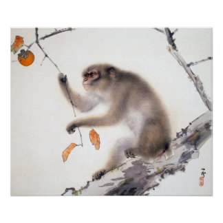 Monkey with Persimmons Print