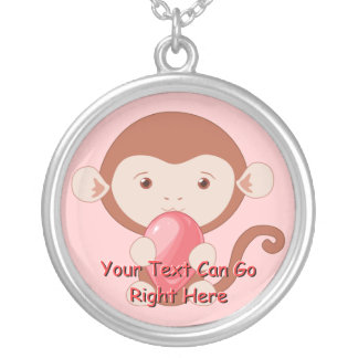 Monkey with Pink Balloon Necklace