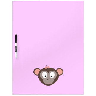 Monkey with pink ribbon dry erase board