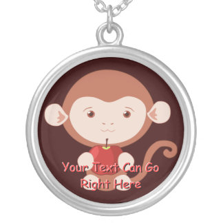 Monkey with Red Apple Necklace
