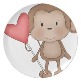 Monkey with red Balloon Plate