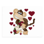 Monkey With Red Roses Tshirts and Gifts Post Card
