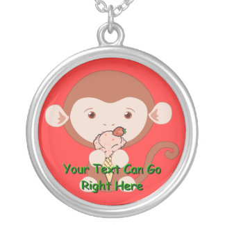 Monkey with Strawberry Ice Cream Cone Silver Plated Necklace