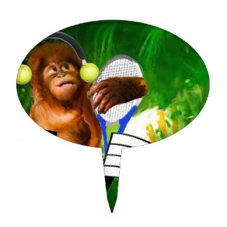 Monkey with tennis balls and racket cake topper