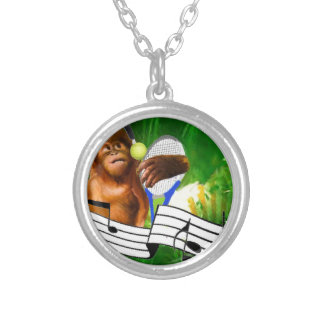 Monkey with tennis balls and racket silver plated necklace