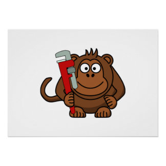 Monkey Wrench Cartoon Posters