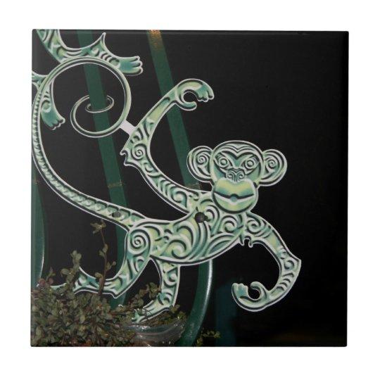 monkey wrought iron figure ceramic tile