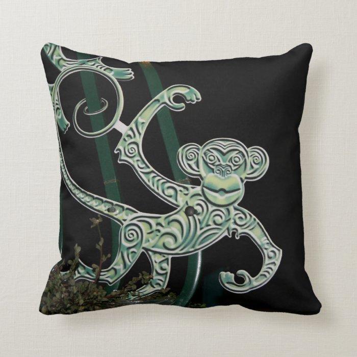 monkey wrought iron figure throw pillow