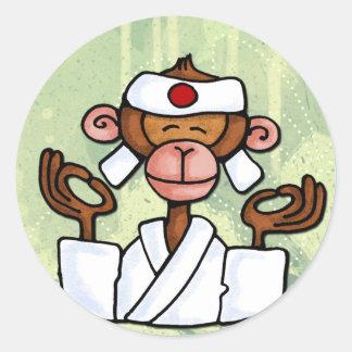 monkey zen classic round sticker