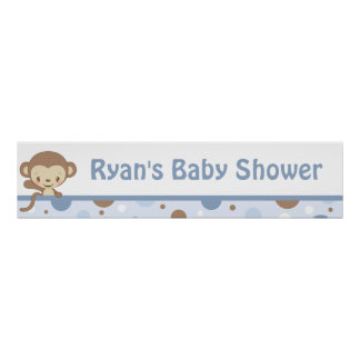 Monkey Zoo Baby Shower Banner-boy-blue Poster