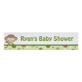 Monkey Zoo Baby Shower Banner-boy Poster