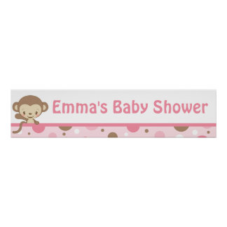 Monkey Zoo Baby Shower Banner-girl Poster