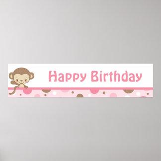 Monkey Zoo Birthday Banner-girl Print