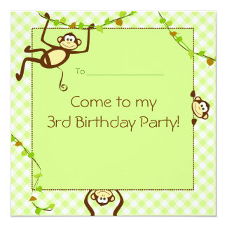 """Monkeying alrededor al Partido Verde invite Invitación 5.25"""" X 5.25"""""""