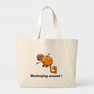 Monkeying around ! large tote bag