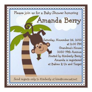 "Monkeying Around/Monkey Baby Shower Invitation 5.25"" Square Invitation Card"