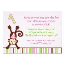 Monkeying Around Monkey Birthday Invitations