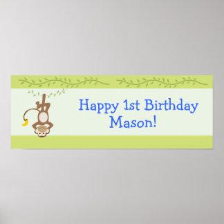 Monkeying Around Monkey Custom Birthday Banner Poster