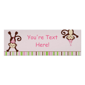 Monkeying Around Personalized Monkey Banner Poster
