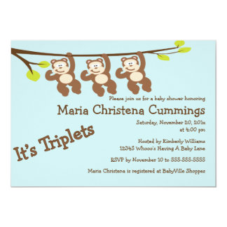Monkeying Around Triplets Baby Shower Invitation