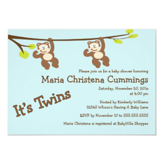 Monkeying Around Twins Baby Shower Invitation