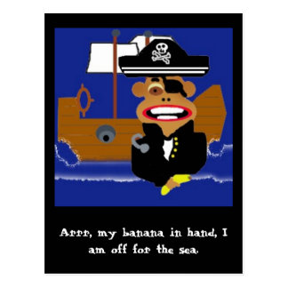 monkeypirate Arrr mi plátano a disposición esto Postal