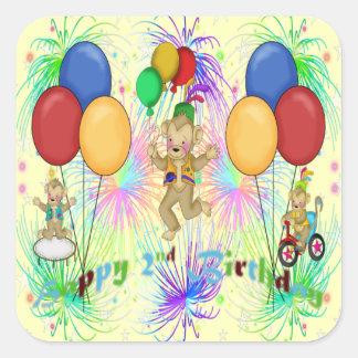 Monkeys 2nd Birthday Square Sticker