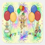 Monkeys 2nd Birthday Square Stickers