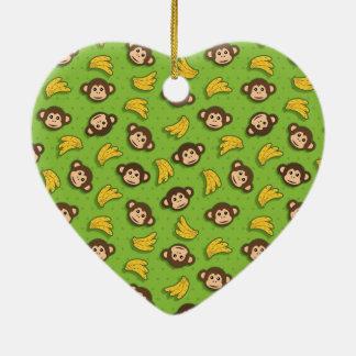 Monkeys and bananas ceramic ornament