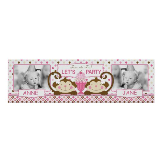 Monkeys and Ice Cream Birthday Banner for Girls Poster