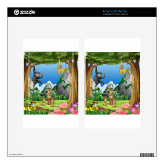 Monkeys and meerkats in the forest kindle fire decals