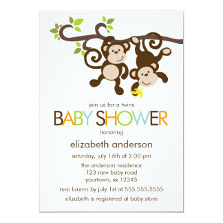 Monkeys and Polka Dots Twins Baby Shower 5x7 Paper Invitation Card