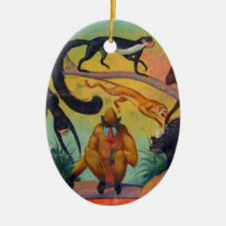 Monkeys and Porcupines Ceramic Ornament