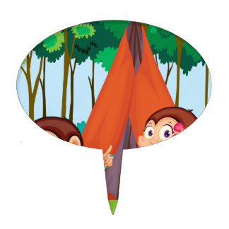 monkeys camping cake toppers