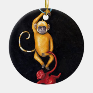 Monkeys Ceramic Ornament