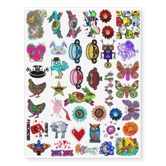 Monkeys, Chickens & Butterflies Oh My! Temporary Tattoos