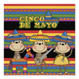 "Monkeys Cinco de Mayo Custom  Birthday Invitations 5.25"" Square Invitation Card"