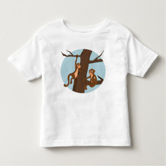 Monkeys climbing the tree cartoon toddler t-shirt
