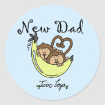 Monkeys Dad of Twin Boys Tshirts and Gifts Stickers